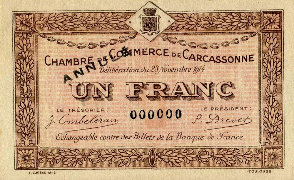 Billets de n cessit carcassonne aude chambre de commerce de carcassonne wikicollection - Chambre de commerce carcassonne ...