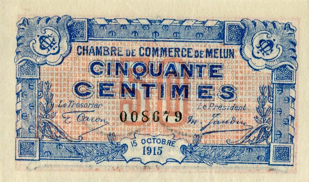 Billets de nécessité (1914-1918) – Melun (Seine-et-Marne) – Chambre on