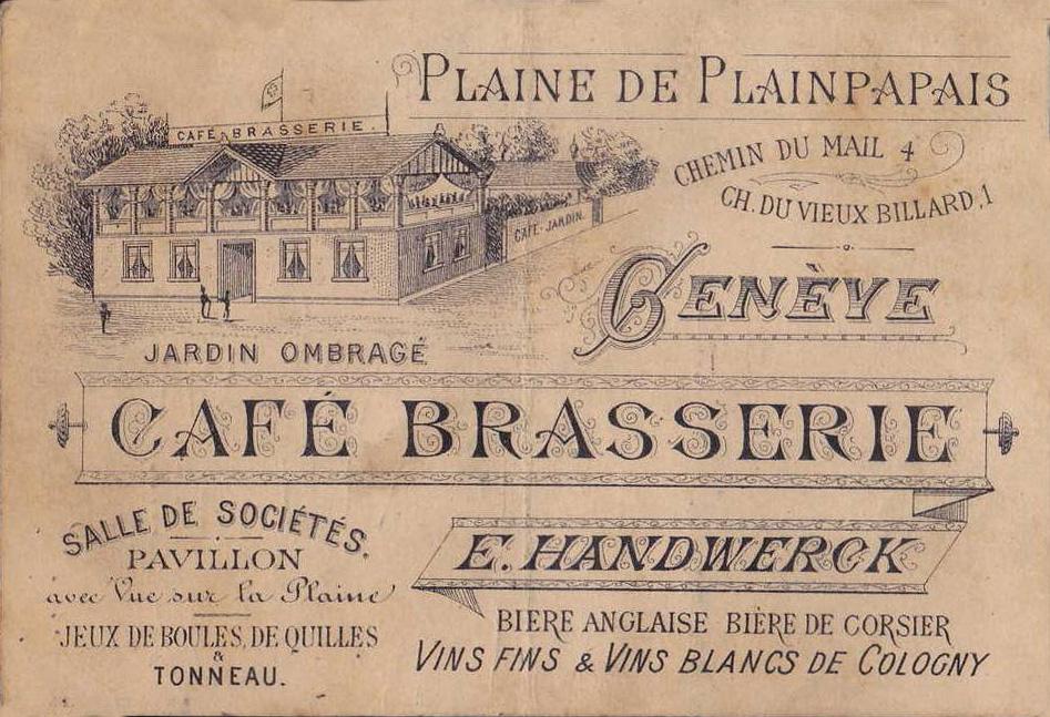 Cartes De Visite Genve Suisse Brasserie Handwerck Wikicollection Rationnement Jetons Et Billets Ncessit