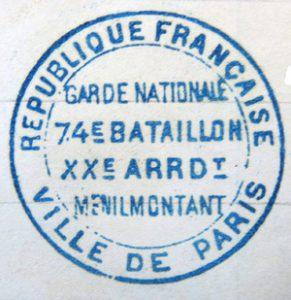 Cachet du 74e bataillon en octobre 1870