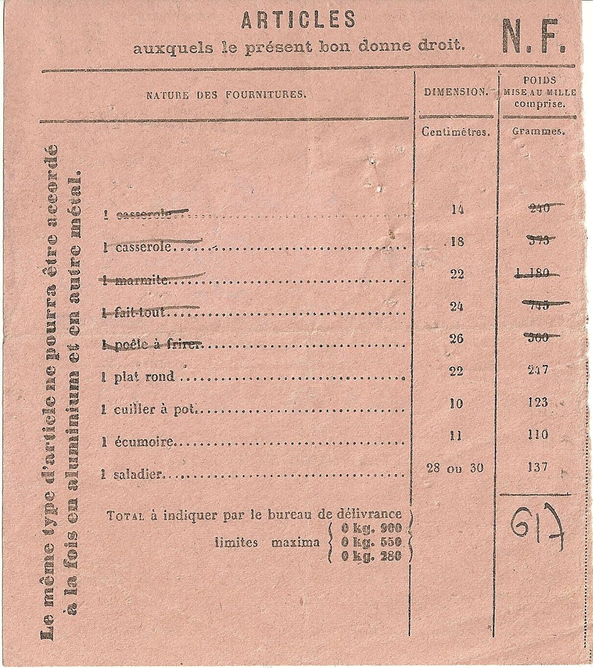 SECTION DES METAUX NON FERREUX - BON D'ACHAT - 00 333 461 - DOS