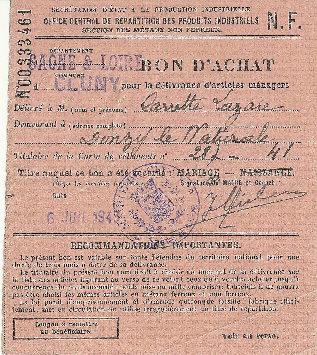 SECTION DES METAUX NON FERREUX - BON D'ACHAT - 00 333 461