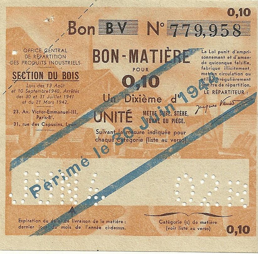 SECTION DU BOIS - Bon BV - BON-MATIERE POUR 0,10 UN Dixième d'UNITE - 02R - 779,958