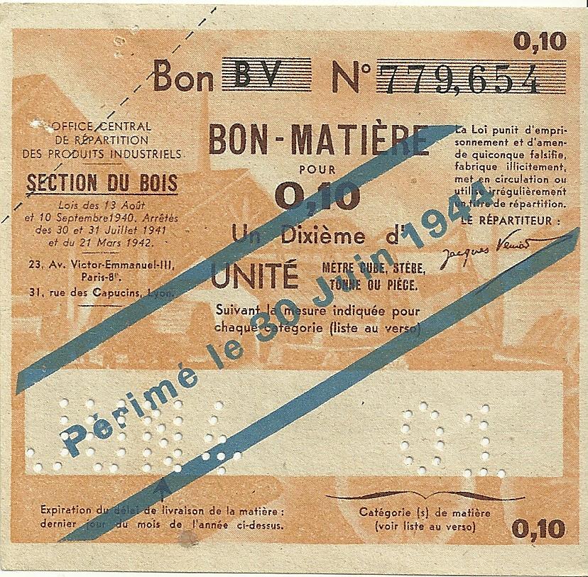 SECTION DU BOIS - Bon BV - BON-MATIERE POUR 0,10 Un Dixième d'UNITE - 01 - 779,654