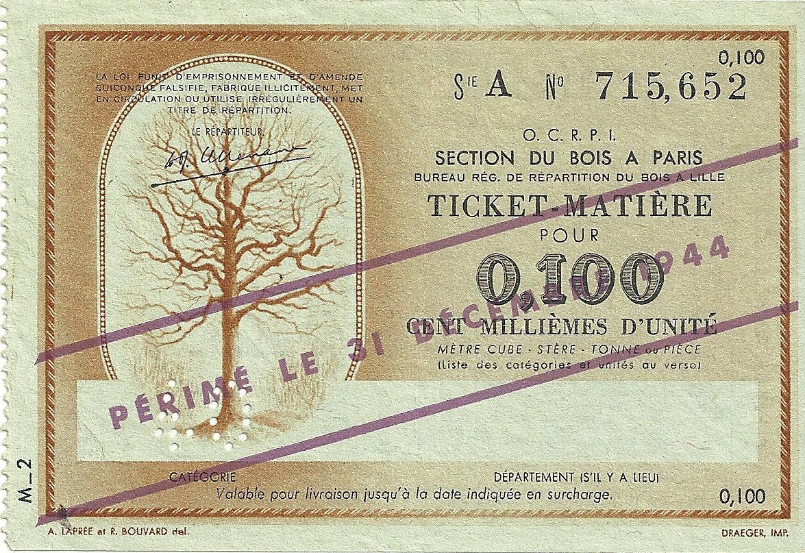 SECTION DU BOIS - TICKET-MATIERE POUR 0,100 CENT MILLIEMES D'UNITE - 40 - SERIE A - 715,652