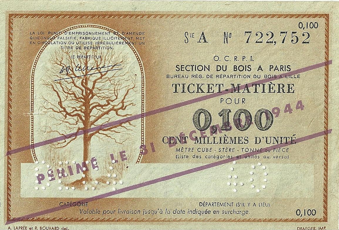 SECTION DU BOIS - TICKET-MATIERE POUR 0,100 CENT MILLIEMES D'UNITE - SERIE A - 722,752