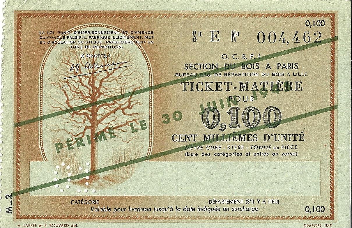 SECTION DU BOIS - TICKET-MATIERE POUR 0,100 CENT MILLIEMES D'UNITE - SERIE E - 004,462