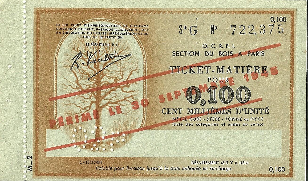 SECTION DU BOIS - TICKET-MATIERE POUR 0,100 CENT MILLIEMES D'UNITE - SERIE G - 722,375