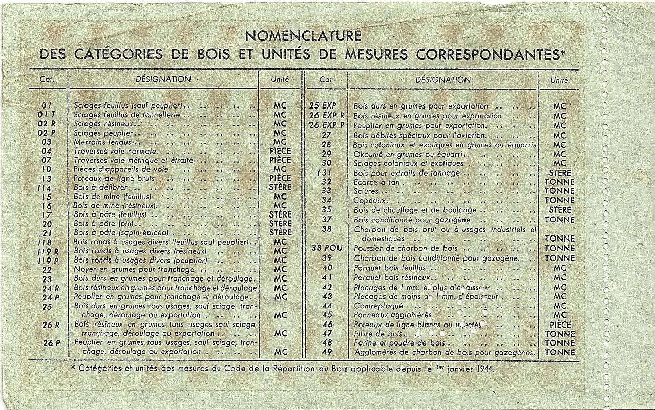 SECTION DU BOIS - TICKET-MATIERE POUR 0,200 DEUX CENTS MILLIEMES D'UNITE - 01 - SERIE A - 920,063 - DOS