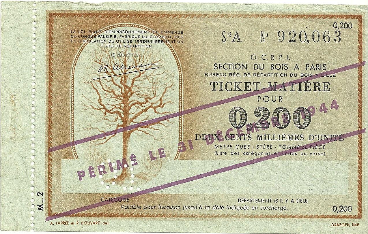 SECTION DU BOIS - TICKET-MATIERE POUR 0,200 DEUX CENTS MILLIEMES D'UNITE - 01 - SERIE A - 920,063