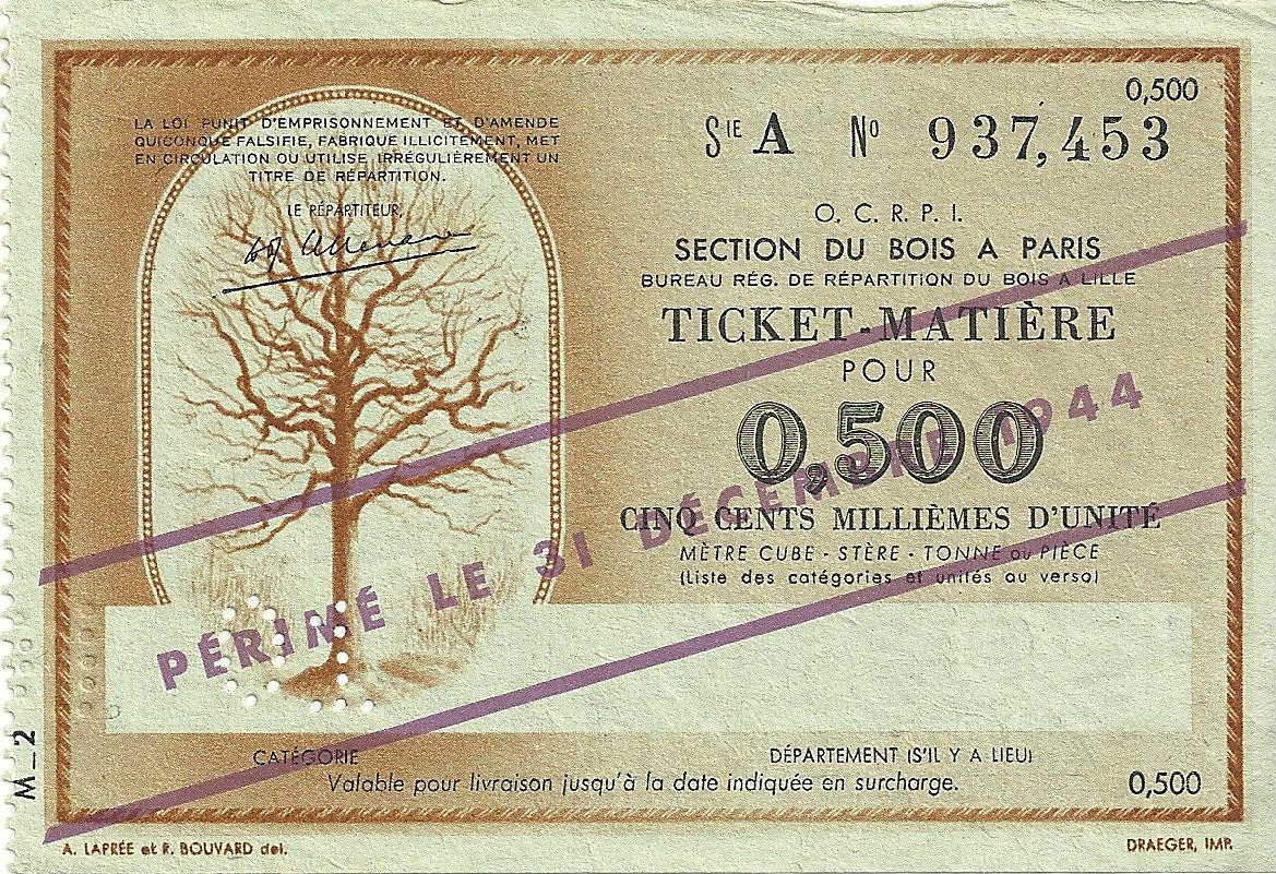 SECTION DU BOIS - TICKET-MATIERE POUR 0,500 CINQ CENTS MILLIEMES D'UNITE - 01 - SERIE A - 937,453