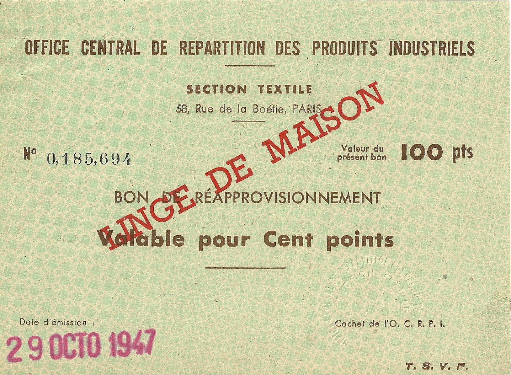 SECTION TEXTILE - BON DE REAPPROVISIONNEMENT - Valable pour Cent points - 0,185,614