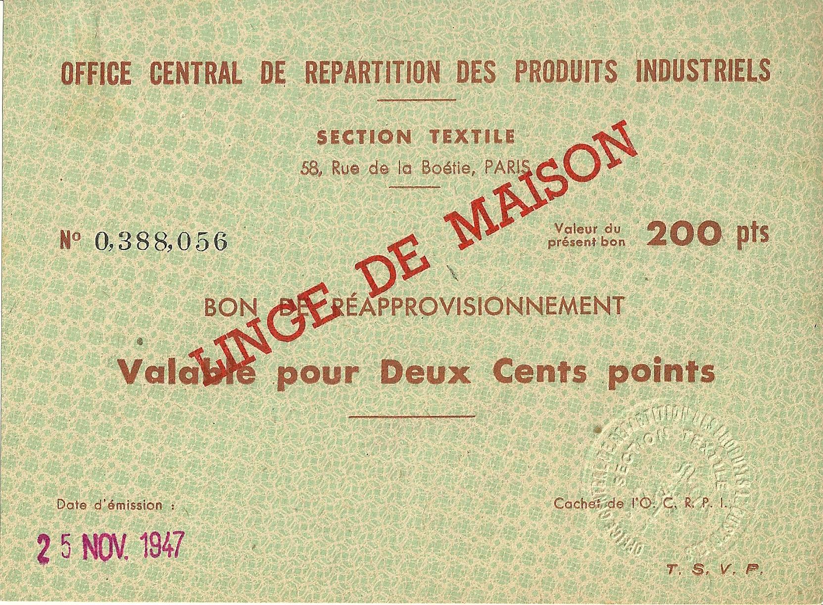 SECTION TEXTILE - BON DE REAPPROVISIONNEMENT - Valable pour Cinq Cents points - 0,388,056