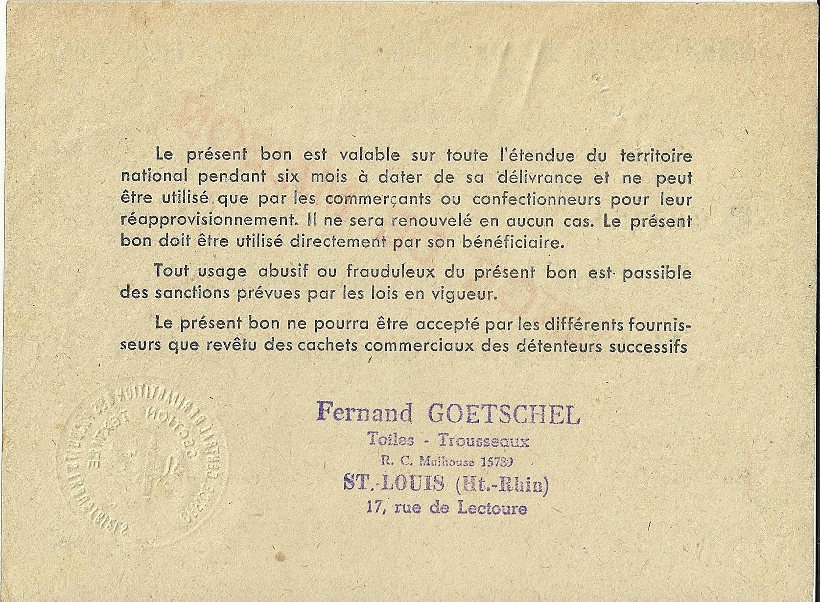 SECTION TEXTILE - BON DE REAPPROVISIONNEMENT - Valable pour Cinquante points - 0,028,193 - DOS