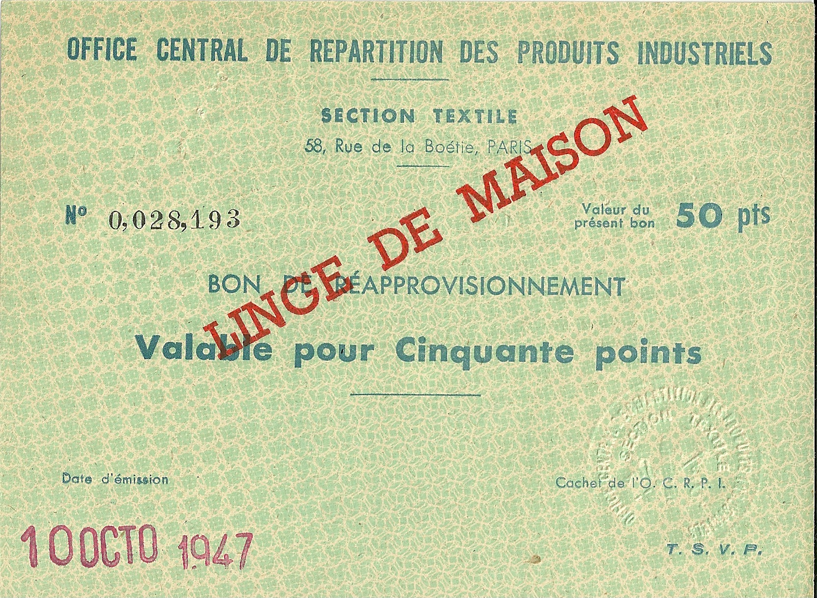 SECTION TEXTILE - BON DE REAPPROVISIONNEMENT - Valable pour Cinquante points - 0,028,193