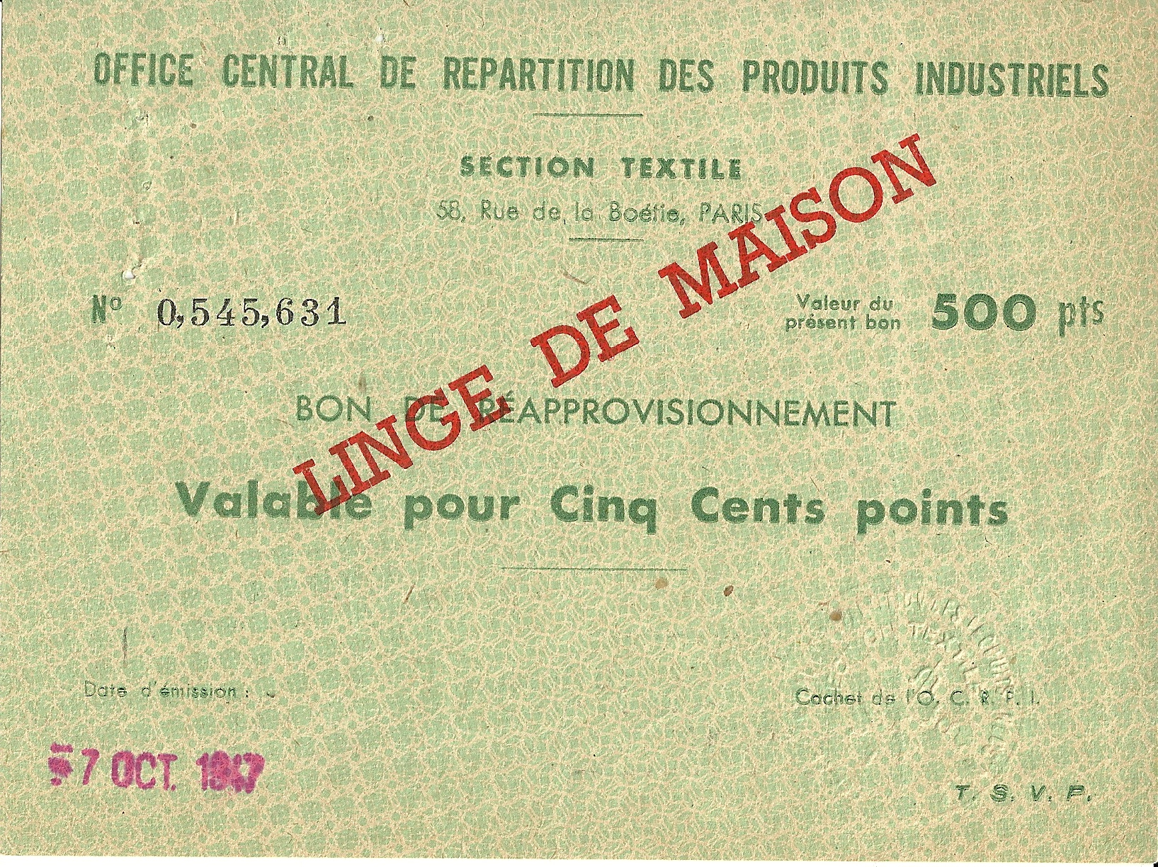 SECTION TEXTILE - BON DE REAPPROVISIONNEMENT - Valable pour Deux Cents points - 0,545,631