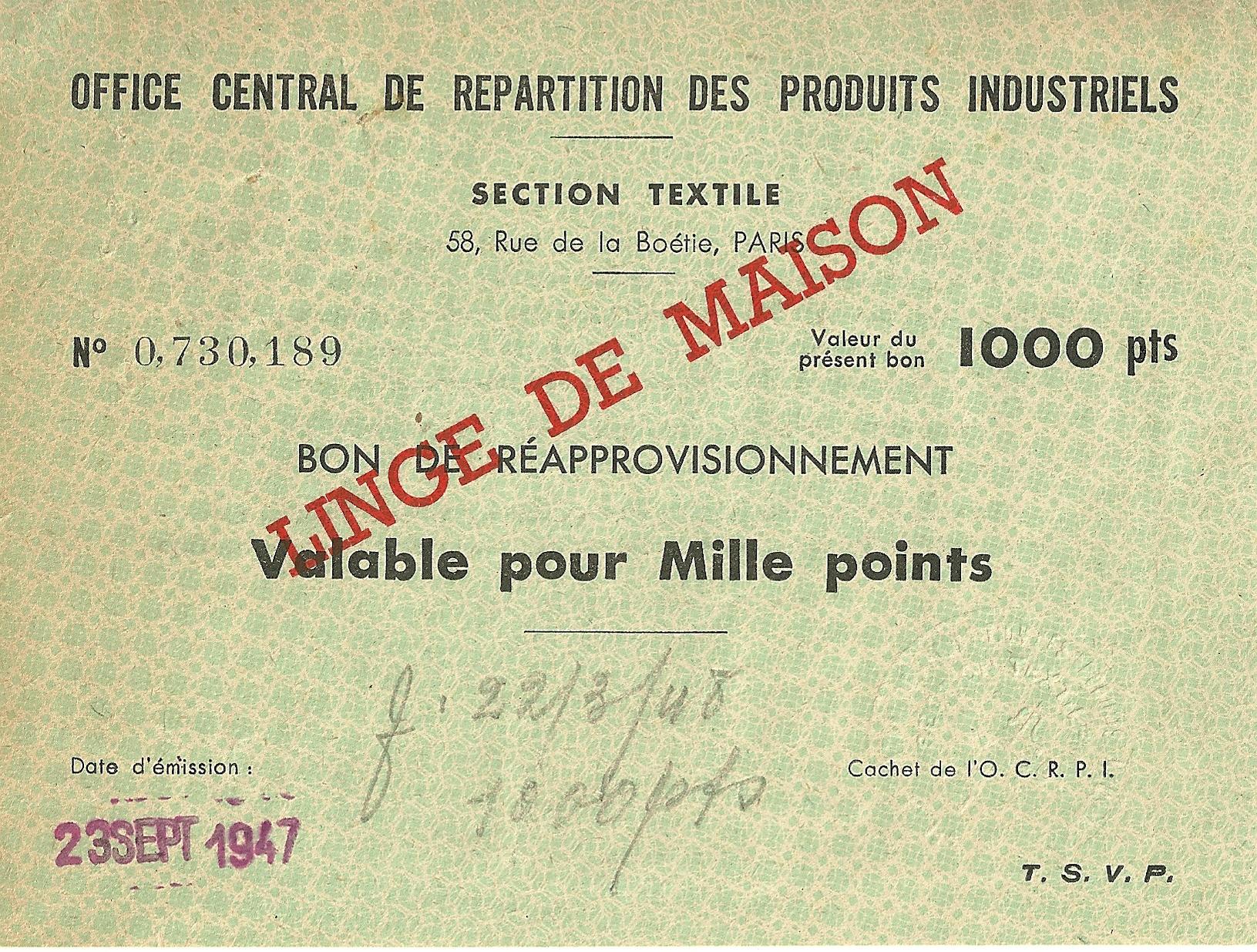 SECTION TEXTILE - BON DE REAPPROVISIONNEMENT - Valable pour Mille points - 0,730,189