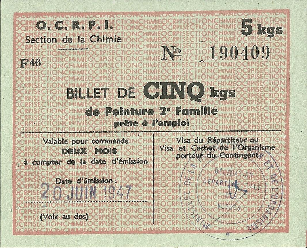 Section de la Chimie - BILLET DE CINQ kgs de Peinture 2e Famille prête à l'emploi - 190 409