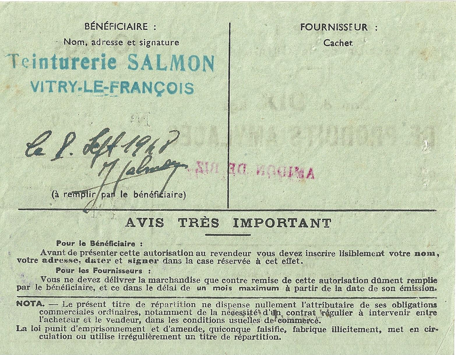 Section de la Chimie - Bon de DIX kgs DE PRODUITS AMYLACES - AMIDON DE RIZ - 25 596 - DOS