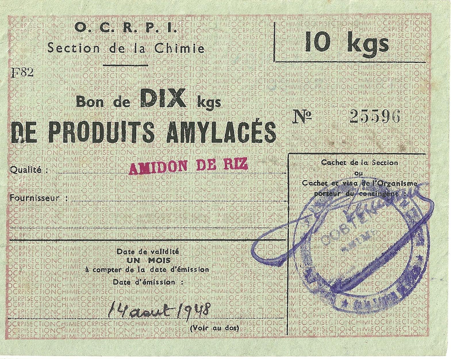 Section de la Chimie - Bon de DIX kgs DE PRODUITS AMYLACES - AMIDON DE RIZ - 25 596