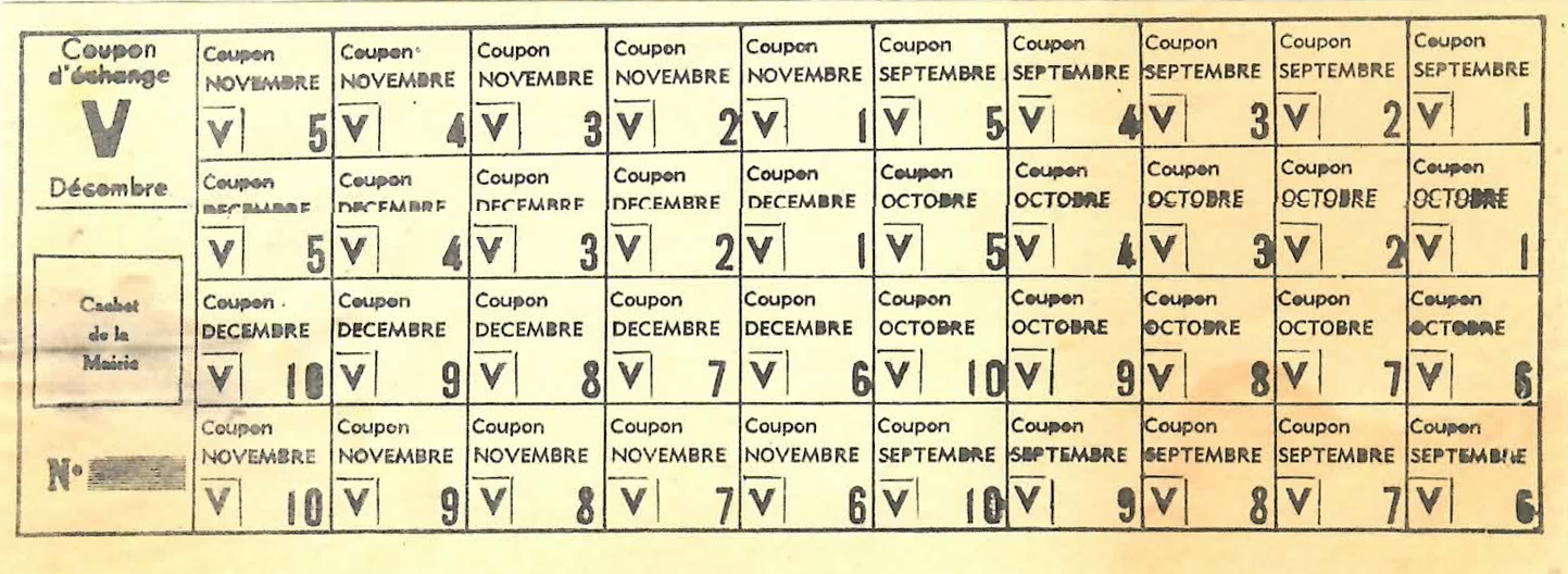 Feuille de coupons numerotes